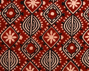 Red and Cream Sanganeri Block Print Cotton Fabric by the yard
