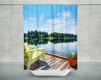 Lake Shower Curtain | Lake Life | Lake Bath Curtain | Lake House Bathroom  Decor |