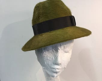 Forest green melousine trilby hat