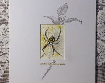Spider Painting, Garden Spider, spider web, insect art, black and yellow spider, entomologist gift