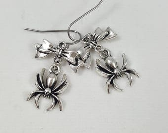 Spider and Bow Earrings, Spider Earrings, Bow Earrings, Creepy Cute Earrings, Spider Jewelry