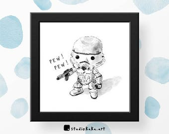 Star Wars Print // Stormtrooper // Nerdy Gift // Sci Fi Art // Gift for Husband // Fine Art Print of Original Watercolour Sketch Painting