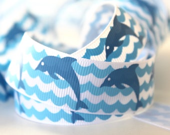 "7/8"" Blue Dolphin Grosgrain Ribbon"