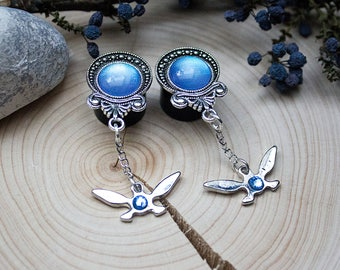 Light Up! -Plugs in antique silver with a long navi pendant (The Legend of Zelda inspired) (10-20 mm)