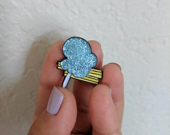 Blue Cotton Candy & Churros  - Glitter Enamel Pin