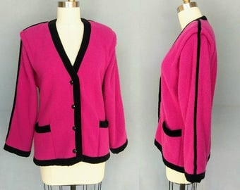 juicy / hot pink 1980s knit cardigan sweater / large