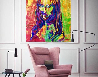 Mona LISA Painting Large Abstract Painting on Canvas ORIGINAL Portrait La Joconde Art Paintings Pop Art Painting Home Decor Colorful