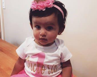 Birthday Onesie I Personalized Birthday Shirt I First Birthday Shirt I Glitter Onesie I Pink and Gold Onesie I 1st Birthday outfit