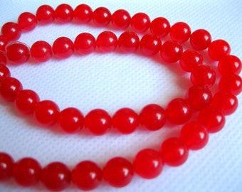 """Round Red 8mm Jade Gemstone Beads 14.5"""" Strand"""