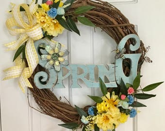 Spring Floral Wreath, Grapevine Wreath, Yellow Wreath, Blue Wreath, Wreath With Sign, Front Door Wreath, Door Wreath, Farmhouse Wreath