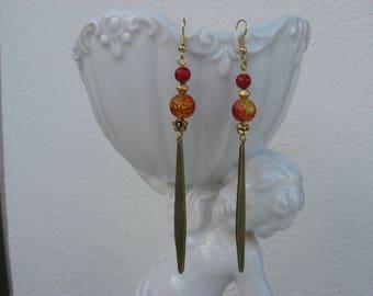 Bronze earrings trendy ethnic red yellow