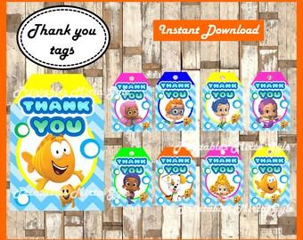 Bubble Guppies Thank you Tags, printable Bubble Guppies party Thank you Tags, Bubble Guppies Tags