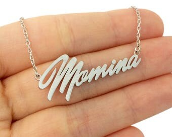 Cursive Name Necklace, Custom Name Necklace, Tiny Name Necklace,Silver Name Necklace, Cursive Nameplate Necklace, Silver Name Necklace