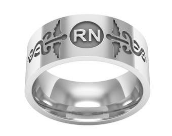 RN Registered Nurse Silver Band Ring, Medical Ring, Caduceus Band Ring, Caduceus Jewelry, RN jewelry, Medical Symbol Caduceus Ring
