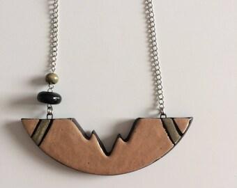 necklace, geometric shape, pink blush, gray, asymmetrical, ceramic, chain