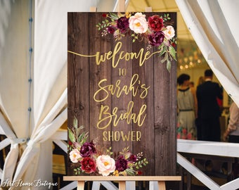 Welcome Bridal Shower Sign, Bridal Shower Welcome Sign, Large Welcome Sign, Floral Welcome Sign, Rustic Wood Welcome Sign, W87