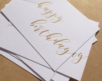Matte Gold Foil / Happy Birthday Cards