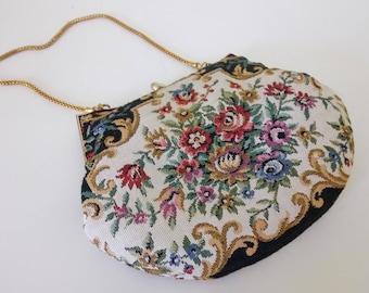 Small Gobelin Tapestry Bag Purse  Du Val Clutch Purse