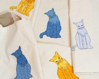 Canvas Tote Bag - Applique Cat Design