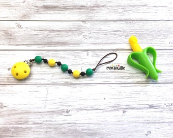 Baby pacifier holder, silicone pacifier chain, food grade silicone, silicone chew toy, baby safe, daisy flower, white yellow, Mâchouille