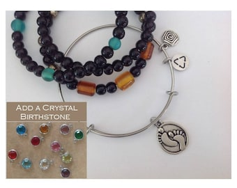 Baby Feet Charm Bracelet | Stainless Expandable Bangle | Baby Charm | Inspired | ADD a Birthstone | FREE SHIPPING