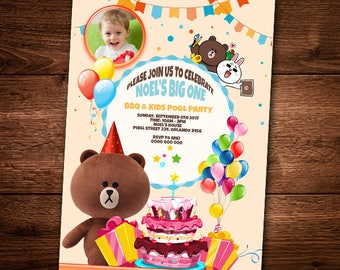 Line Friends Invitation Card, Birthday party Card, For Kids, Line Frinds, Bear