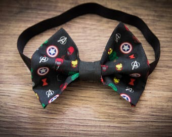 Avengers Pattern Bow Clip or Headband