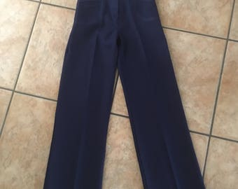 1970's High Waisted Pants (Size 7) • Vintage Smooth Back Navy Blue Pants