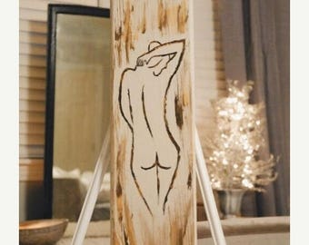 Figure Painting/ nude abstract/ abstract painting/ nude abstract painting/ reclaimed wood art/ gold abstract/ chic nude/ chic abstract