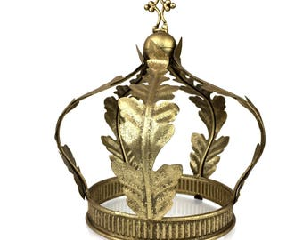 Medieval Decorative Crown in the Style of Charlemagne circa 800 A.D. of Acanthus Leaves an Orb and a crowning Cross