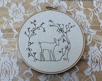 New Christmas Embroidery Designs - Deer Hoop Art - Primitive - Scandinavian - 5x7 Embroidery Designs - Woodland Scene - Redwork - Holiday