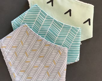 3 Pack Cotton / Bamboo Dribblr Bib - patterned