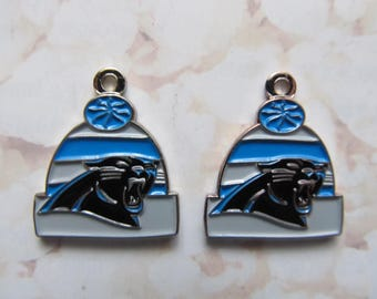 Carolina Panthers Logo NFL Football Dangle Charms - Beanie Hat Style - 2pcs