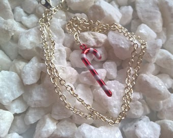 Candy Cane Christmas Necklace, Christmas Jewelry, Minimalist Style