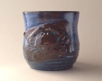 4 oz. Bright Blue Crab Ceramic Double Shot Cup, Wheel thrown One of a kind. Small Batch pottery.