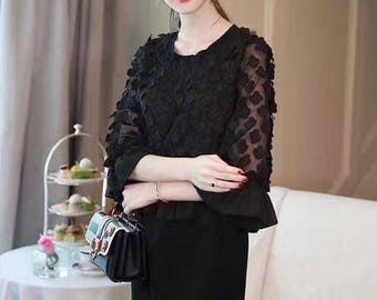 Quarter-Sleeve Knee-Length Tunic Dress (Black or Black/White)
