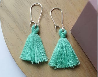 Mint colored tassel earrings