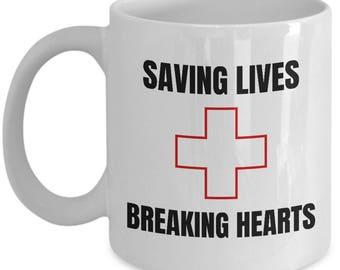 Lifeguard Coffee Mug - Lifesaver Gift - Lifeguard Present - Saving Lives Breaking Hearts
