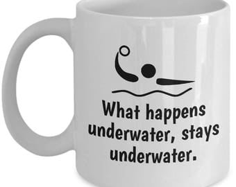 Funny Water Polo Mug - Water Polo Gift - What Happens Underwater, Stays Underwater