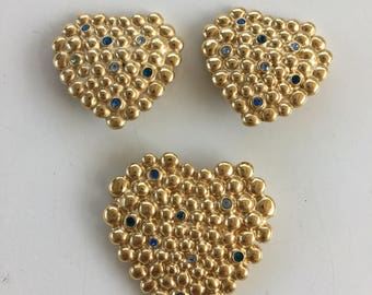 YSL vintage couture parure   Heart Earrings and Brooch