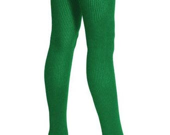 Authentic American Apparel dyed KELLY GREEN sexy green cotton blend thigh high stretchy stretch big socks USA made stretch thick legs size!!