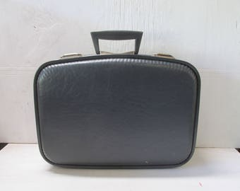 Vintage Small Dark Gray Suitcase- Luggage- Travel- Bag- Wedding Decor