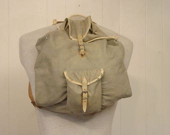 Vintage backpack, 1950s backpack, canvas and leather bag, vintage bag