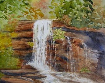 Waterfall watercolor painting nature art original North Georgia art 11x15