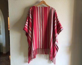 Vintage Fringed Blanket Poncho