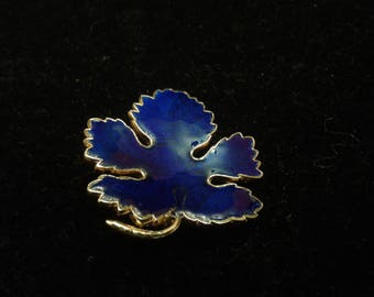 Cobalt Blue Guilloche Enamel Vintage Maple Leaf Brooch