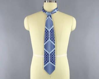 SALE - Vintage 1980s Mens Tie / Vintage 80s Necktie / 1990s Men's Wide Neck Tie / Fratello / Vintage 90s Menswear / Blue Polka Dots & Stripe