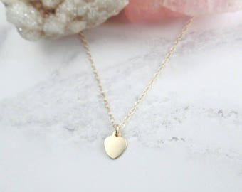 Gold Heart Necklace - Small Heart Pendant - Gold Filled - Dainty Necklace - Gift for Her - Minimal Heart Necklace - Bridesmaid Necklace