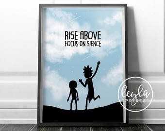 Rick and Morty Print - Silhouette / Rise above, focus on science | A6/A5/A4/A3 Illustration Print | Rick and Morty Poster | For Him, For Her