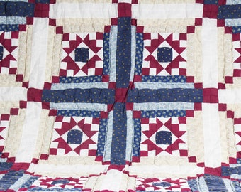 Vintage Blue, Burgundy & Cream Star Pattern Quilt
